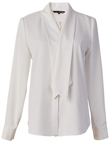 ROEYSHOUSE Women's Bow Tie Neck Blouse Long Sleeve Chiffon Button Down Work Shirts Office Casual Tops White XXL