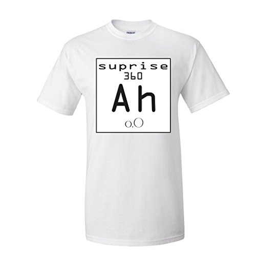 Element of Suprise Tshirt- Halloween Science Pun Costume (Medium, White)