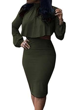 VOGRACE Women's High Neck Cloak Cape Top Bodycon Skirt 2 Pieces Dress S Army Green