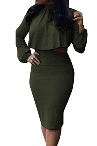 Two Piece Skirt (Women's High Neck Cloak Cape Top Bodycon Skirt 2 Pieces Dress M Army Green)