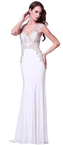 Meier Women's Emboridery Rhinestone Sheer Back Pageant Prom Wedding Dress Offwhite-8