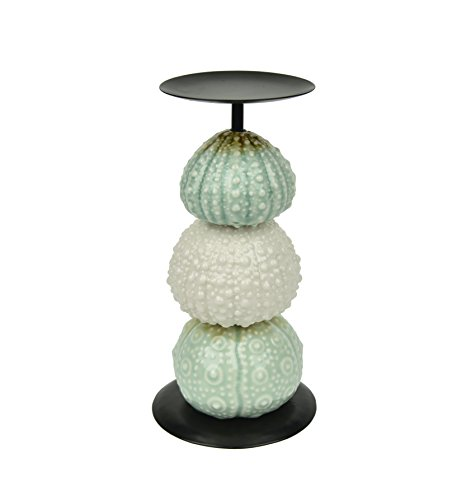 Urchin Candle Holder,White and Turquoise mixed