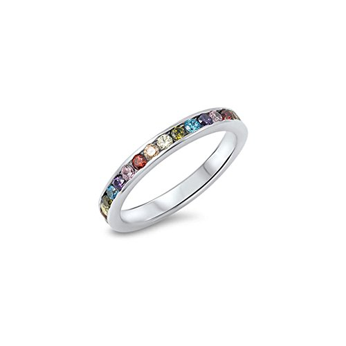 Noureda Sterling Silver Fancy Eternity Band Ring Set with Multi-Colored
