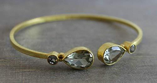 Prasiolite Green Amethyst Gold Plated Sterling Silver Cuff Bracelet