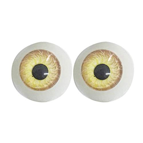 - ruiycltd 12mm Colored Doll Eyes Eyeballs DIY Craft Dollhouse Accessory for Reborn Making Independence Day Yellow