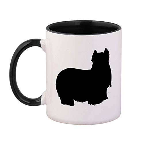 Style In Print Black Yorkshire Terrier Silhouette Ceramic Cup Colored Mug - Black