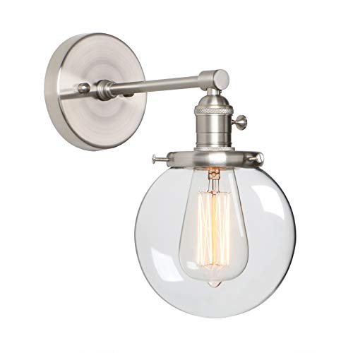 "Phansthy 1-Light Vintage Industrial Wall Light with 5.9"" Round Canopy (Brushed)"