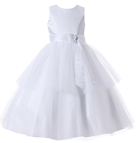Aikolili Flower Girl Princess Dress with Bowknot Communion Dress for Wedding Pageant Party Ball Prom (4Y, White) Embroidered Taffeta Evening Gown