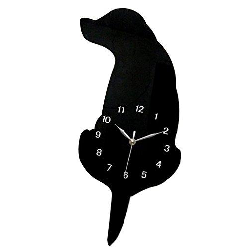 (Homyl Cartoon Cat Dog Acrylic Wall Clock Mute Wagging Tail Swing Decorative Wall Clock, 10 Designs - Black Dog 01)