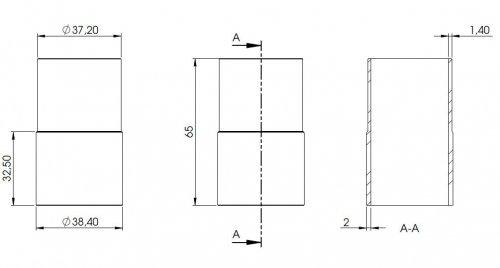 Rohrverbindungsst/ück zum Stecken und Kleben f/ür Rohr 42,4 x 2,6mm an Rohr 42,4 x 2,0mm