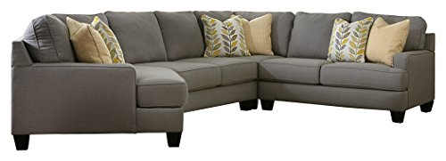 Ashley Furniture Signature Design - Chamberly 4-Piece Sectional - Left Arm Facing Cuddler with Wedge, Armless & Right Arm Facing Loveseat - Gray - Sectional Wedge