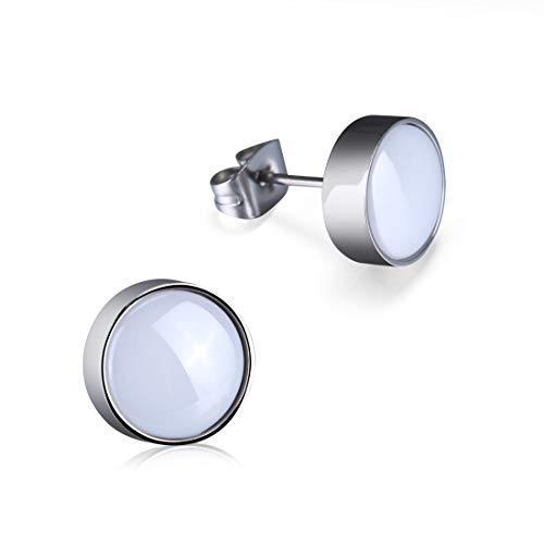 TGNEL Titanium Stud Earrings for Women Men with Black White Ceramic Inlay-Light Weight No Allergy (White)