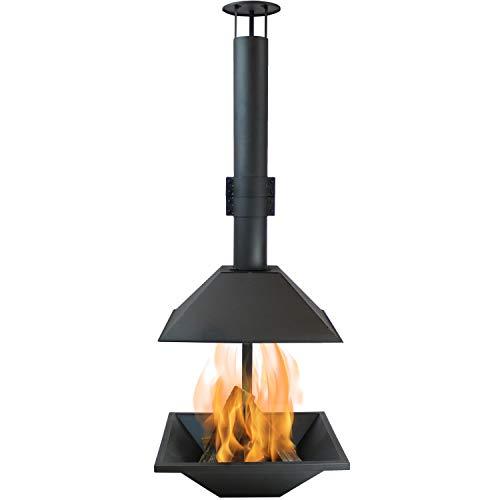 (Sunnydaze Black Steel Outdoor Wood-Burning Modern Backyard Chiminea Fire Pit, 80-Inch Tall)