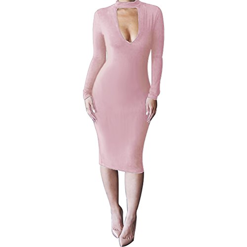- ALAIX Women's Sexy Keyhole Bodycon Long Sleeve Warm Night Out Midi Dress Pink-M