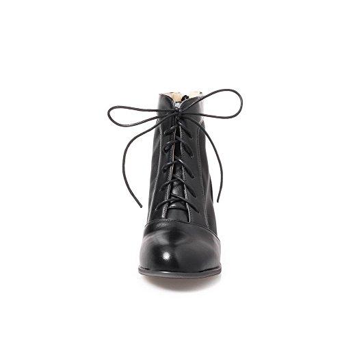 Solid Women's Heels Lace Boots Round Kitten Toe AgooLar up Black Microfibre 7E6w7Hxp