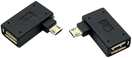 2Pcs 90 Degree Right/&Left Angle Micro USB2.0 OTG Host Adapter with USB Power for Android Smartphone