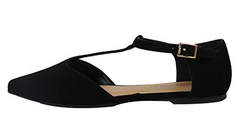 Ville Classée Femmes Pointu Orteil T Sangle Plat Sandale Noir