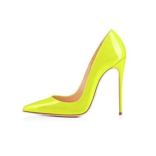 Elisabet Tang High Heels, Womens Pointed Toe Slip on Stilettos Party Wedding Pumps Basic Shoes FY 10 Neon Yellow