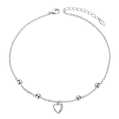 925 Sterling Silver Boho Beach Charm Anklet Adjustable Foot Chain Heart Ankle Bracelet for Women Girl Jewelry Birthday Gift (Heart)