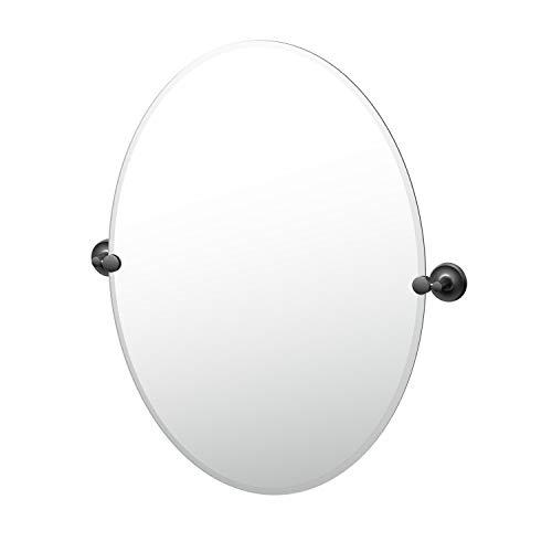 Gatco Desinger II Frameless Oval Mirror, 32 Inch, Matte - Bathroom Mirrors Tilt Black