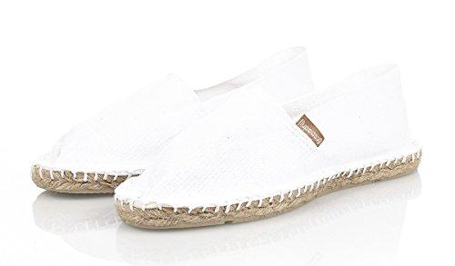 Espadrij Unisex Schuhe Damen und Herren, Classic, Gemütliche, Klassische Espadrilles Aus Canvas mit Wasserabweisender Jutesohle, Weiß (Blanc), EU 47, Normal