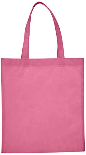 Reusable Convention - Conference Tote Bags Non Woven Bright Colors for Promotions, Giveaway Favors, Light Pink, Set of 100 ()