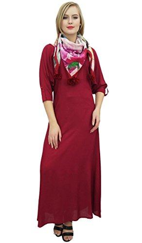 Robe Maxi Bimba Boho Des Femmes Avec Le Designer Écharpe Pompon Marron Vêtements D'été