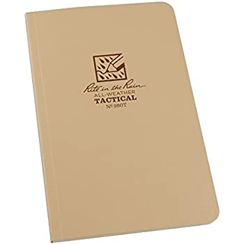 """Rite in the Rain All Weather Tan Tactical Field Notebook, 4 5/8"""" x 7"""" Soft Cover Weatherproof Notepad, Universal Page Pattern, Reference Pages (No. 980T)"""