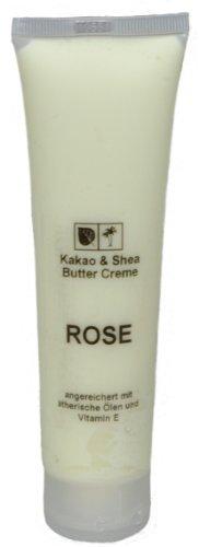 Kakaobutter Creme Handcreme Gesichtscreme ROSE 100 ml Tube mit Sheabutter geeignet auch für sehr trockene Haut