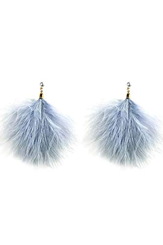 Mina Polished Gold Classic Pearl and Genuine Ostrich Feather Gentle Cascading Feathers Dangle ()