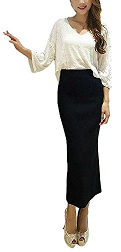 Women's Ribbed Knit Package Hip Skirt with Elastic Waist Band and Slit Black