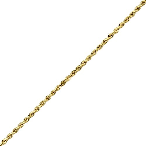 LoveBling 14K Yellow Gold 2mm 18'' Solid Diamond Cut Rope Chain Necklace with Lobster Lock by LOVEBLING (Image #3)