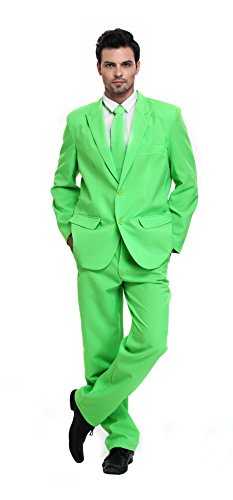 U LOOK UGLY TODAY Men's Party Suit Green Solid Color Bachelor Party Suit-Medium