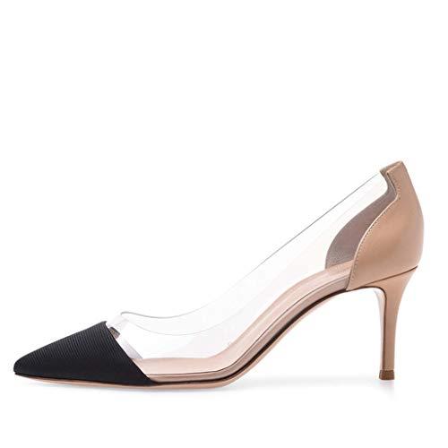Spleißen Sexy Schuhe mit Farbe Große Bankett Damen Hochhackig FF Einzelne Absatzhöhe 8 LFF cm Flacher Pure 5 Hochzeitsschuhe Spitz Mund Schuhe Gut Größe 08Ywqa4