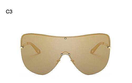Design Reborde Sin Hombres Marca C integrada Sol Mujer Eyewear Burenqi de Frame Gafas Lente polarizadas Big Mujeres D R65wwxdUq