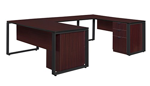 (Regency STUDLP723048MHBK Pedestal U-Desk with Bridge Structure Double Laminate, 48