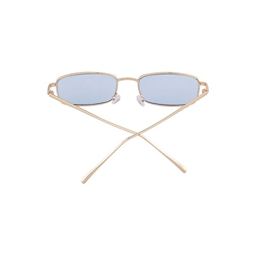 ADEWU Frame Women Men for Blue Lens Sunglasses Fashion Retro Gold Glasses Square OrqPYO
