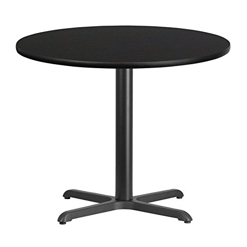 (Dyersburg 36'' Round Black Laminate Table Top w/30 H X-Base)