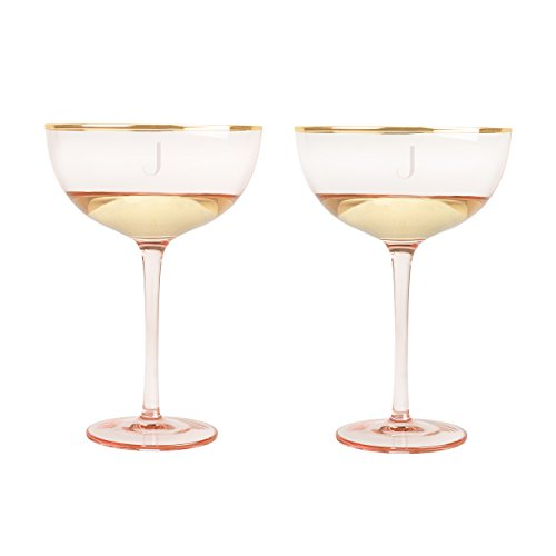 Cathy's Concepts 1240RS-J Personalized 8 oz Blush Rose Gilded Rim Coupe Flutes, J, - Rim Coupe
