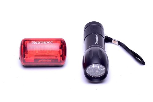 Retrospec Bicycles Police 9 LED Front Mount Flashlight and Bub-5 Ultra Bright 5 LED Headlight and Taillight Combo