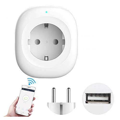 GKPLY Socket with USB Port, WiFi Smart Socket, Application Control and Timer Function, Remote Control of Your Device from Anywhere ()