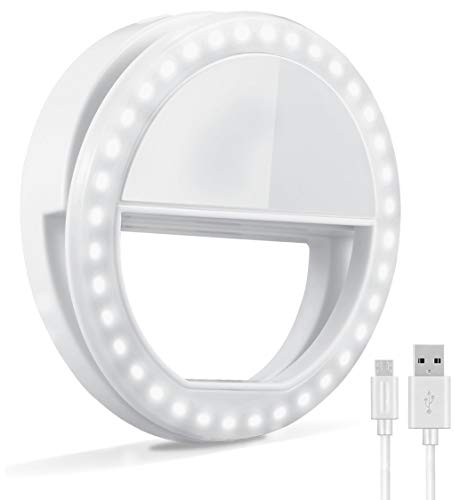 Selfie Ring Light, Oternal Rechargeable Portable Clip-on Selfie Fill Light with 36 LED for iPhone Android Smart Phone Photography, Camera Video, Girl Makes up (White 1, 36LED)
