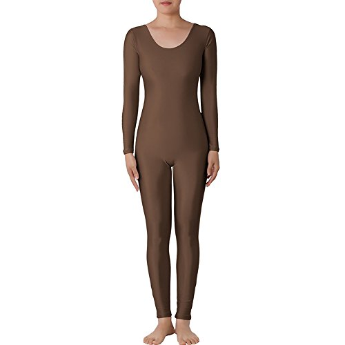 [Muka Scoop Neck Long Sleeve Unitard Lycra Zentai Bodysuit Catsuit Dancewear - Brown,S] (60s Dress Up Ideas)