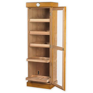 3000 Cigar Tower Drawerless Shelves with Hygrometer, Oak by Quality Importers