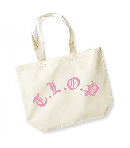 TLOP- Large Canvas Fun Slogan Tote Bag Natural/Pink