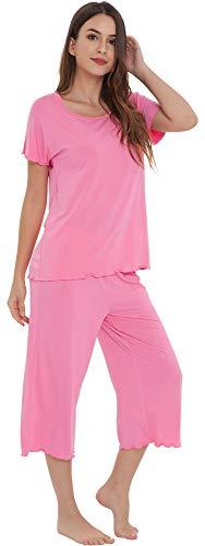 Set Raspberry - NEIWAI Women's Pajamas Short Sleeve Sleepwear Bamboo Pj Set Raspberry Pink 2X
