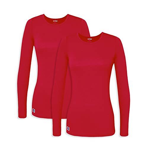 5c6bde43 Sivvan 2 Pack Women's Comfort Long Sleeve T-Shirt/Underscrub Tee - S8500-2  - RED - XL
