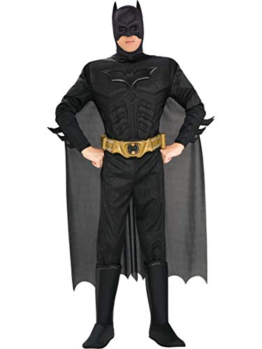 The Dark Knight Batman Deluxe Muscle Chest Costume, Black, Large