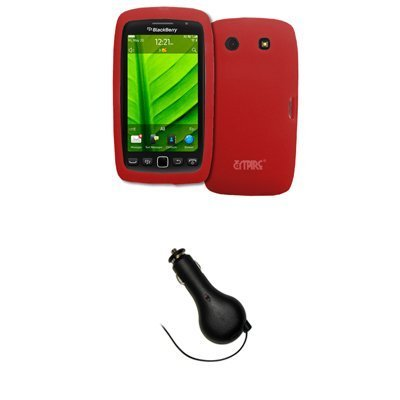 Bloutina EMPIRE Red Silicone Skin Case Cover + Retractable Car Charger (CLA) for BlackBerry Torch 9860 by Bloutina