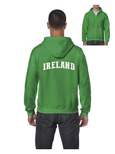Ireland Flag Dublin City Traveler`s Gift Men's Full-Zip Hooded (LIG) Irish Green -